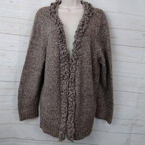 CJ Banks Ruffle Cardigan Knit Sweater 3XL